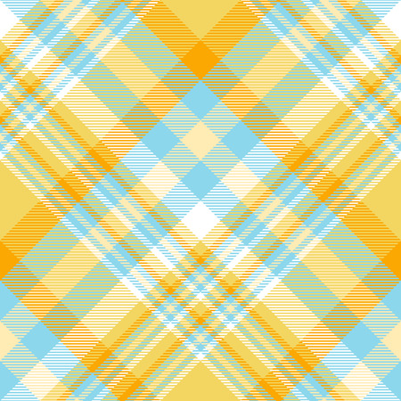 Plaid pattern in shades of orange, yellow, blue and white. Vector Illustration