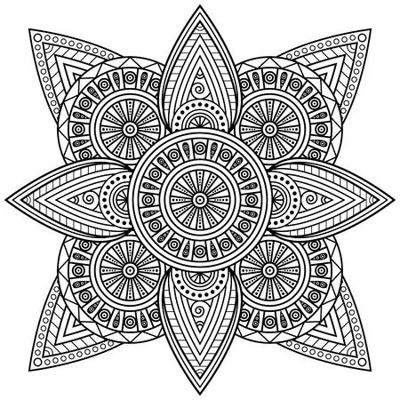 Oriental mandala print. Coloring page illustration.