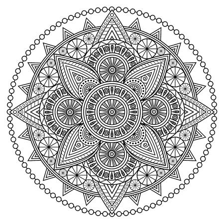 Mandala oriental en noir et blanc. Illustration de la page à colorier. Vecteurs