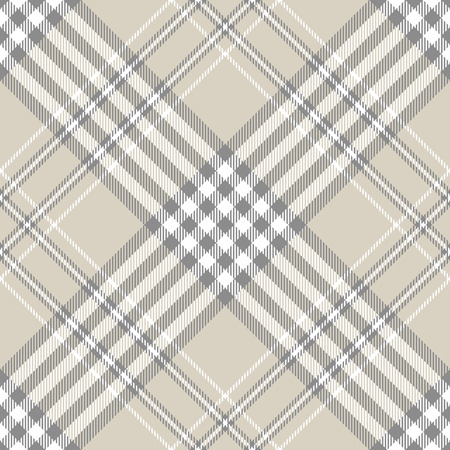 Plaid pattern in taupe, grey and white.