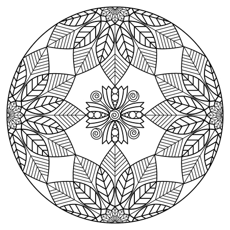 Floral mandala in black and white. Coloring page illustration.