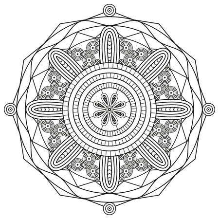 Mandala illustration in black and white. Coloring book page.