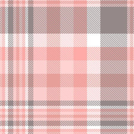 Plaid pattern in pink, white and grey.