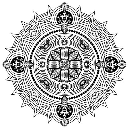 Orientalisches Mandala in Schwarzweiss. Malvorlage Abbildung.