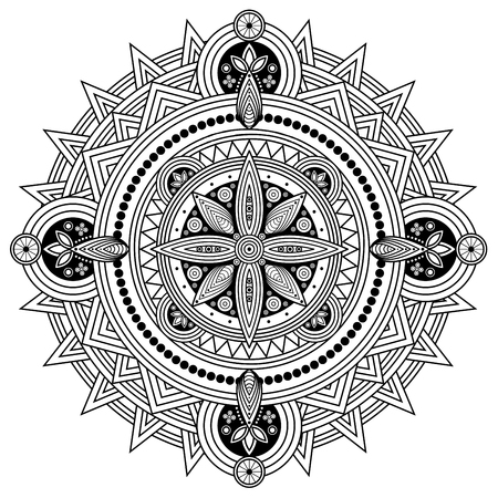 Oriental mandala in black and white. Coloring page illustration.