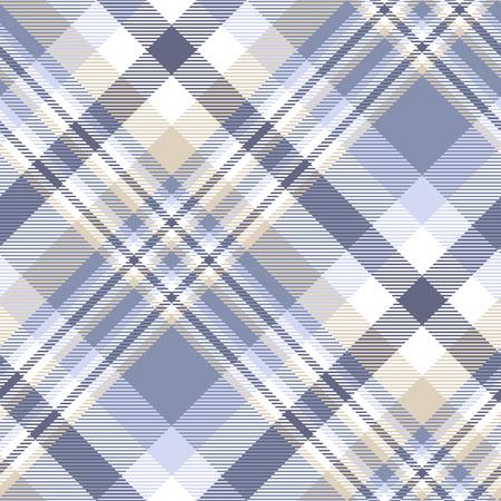 Plaid pattern in blue, indigo, tan and white.