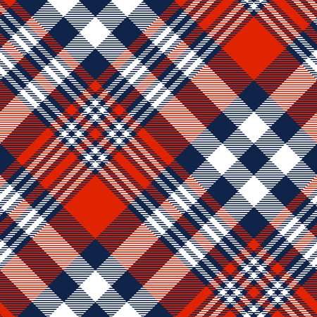 Plaid pattern in red, white and blue.