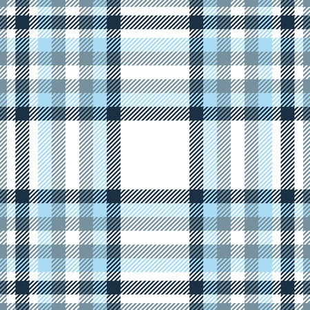 Plaid pattern in blue, navy, cyan grey and white.