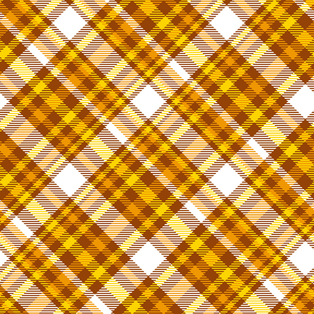 Madras plaid pattern in shades of honey yellow, orange, brown and white.