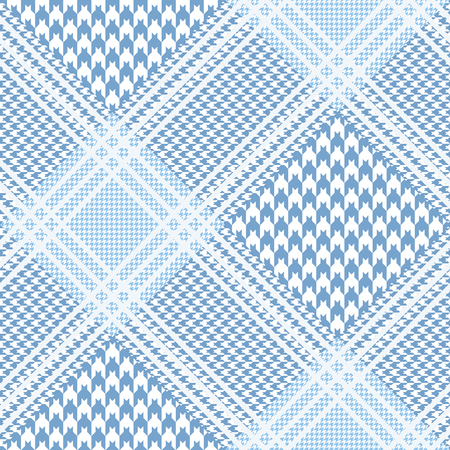 Prince of Wales plaid pattern in pastel blue and white.
