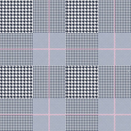Prince of Wales pattern in navy blue, white and pale amaranth pink.