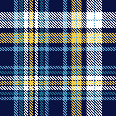 Plaid pattern in blue, yellow and white. Vettoriali