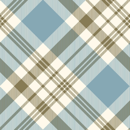 Plaid pattern in faded blue, khaki green and cream.