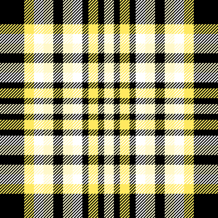 Plaid pattern in black, yellow and white,