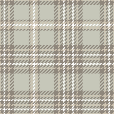 Seamless plaid check pattern in taupe, beige, grey and white.