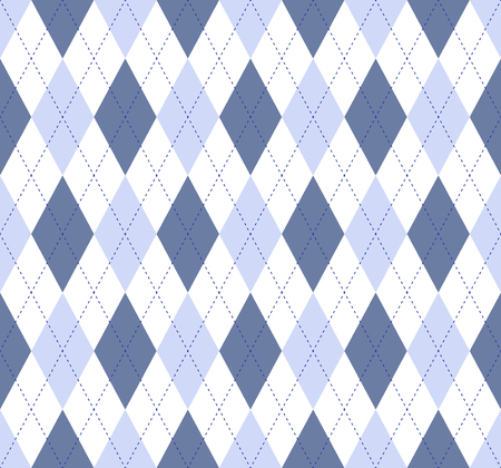 Seamless argyle pattern in pale blue, bluish slate and white with cobalt blue stitch.