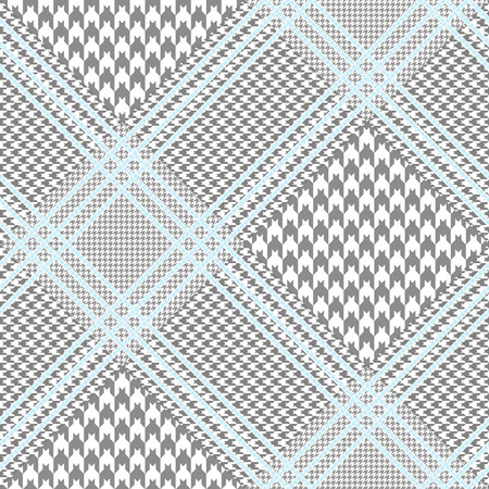 Glen plaid pattern in grey and white with pale blue overcheck. Vettoriali
