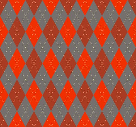 Seamless argyle plaid pattern in palette of red, burgundy and grey with pale yellow stitch. Vettoriali