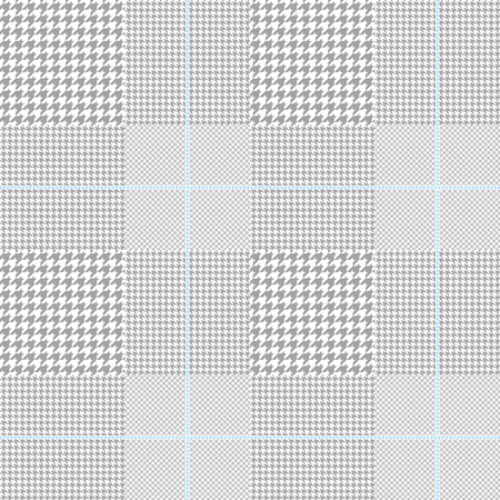 Glen plaid pattern in grey and white with light blue overcheck. Illustration