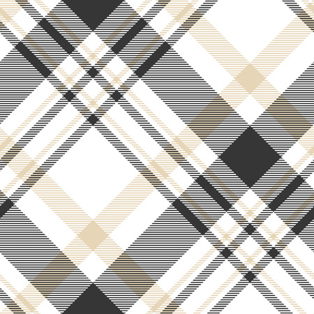 Plaid check pattern in black, white and beige.