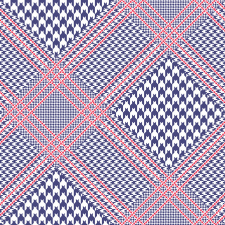 Seamless glen plaid pattern in red, white and blue.