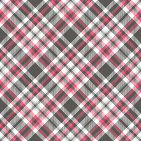 Seamless plaid check pattern in pink, grey and white.
