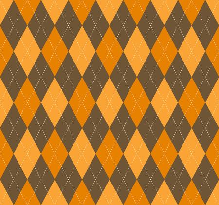 Motivo scozzese argyle senza cuciture in arancione dorato e marrone. Vettoriali