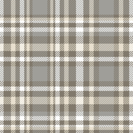 Plaid check pattern in grey, taupe, beige and white.