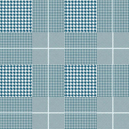 Seamless glen plaid pattern in teal and white with pale blue overcheck.