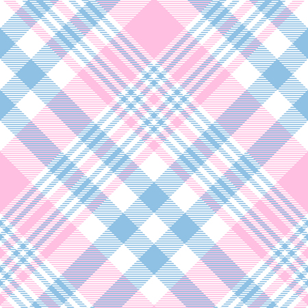 Plaid pattern in pastel pink, blue and white. Stock Illustratie
