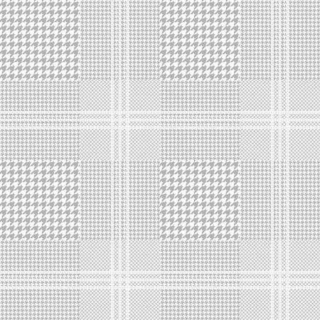 Seamless glen plaid pattern in grey and white with pale silver overcheck. Vettoriali