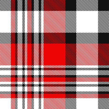 Plaid pattern in red, black and white.  イラスト・ベクター素材