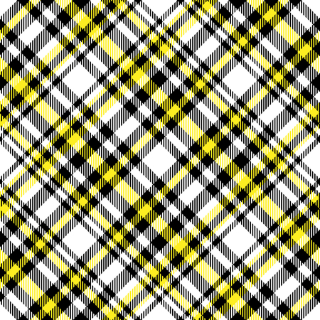 Plaid pattern in yellow, black and white. Vettoriali