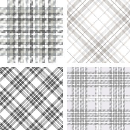 Set of four plaid patterns in shades of grey and white. Ilustração