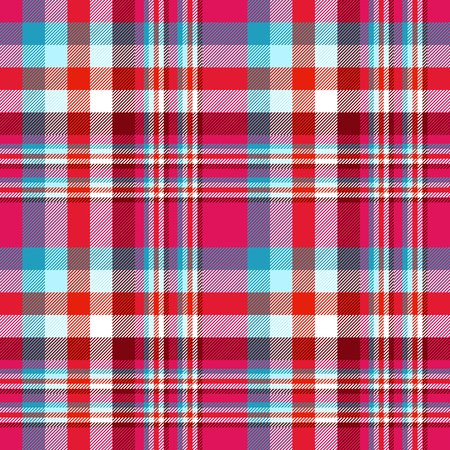 Plaid pattern in blue, red, burgundy, fuchsia pink and white. Ilustrace