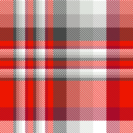 Seamless plaid pattern in red, grey and white.
