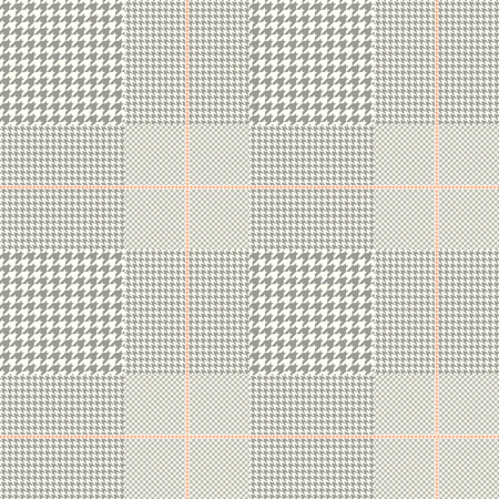 Seamless Prince of Wales pattern in taupe and off-white with pale red overcheck.