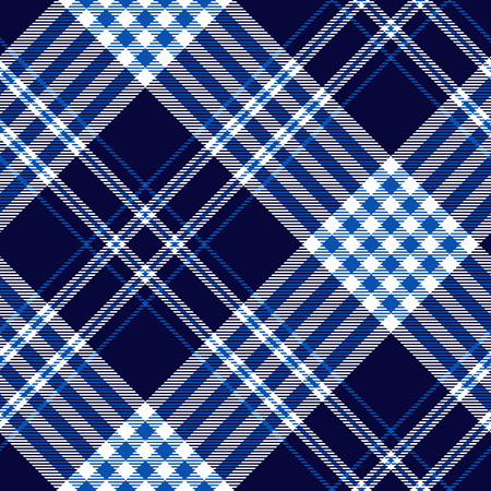 Seamless plaid pattern in cobalt blue, dark navy and white.
