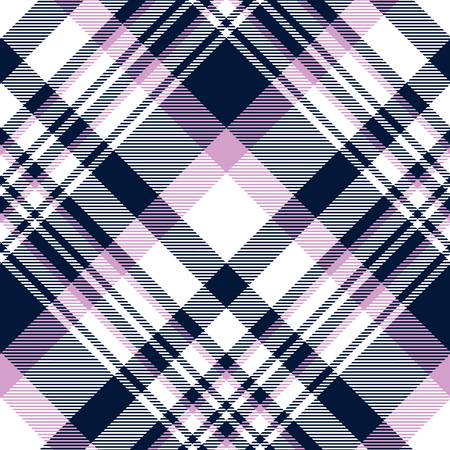 Seamless plaid pattern in navy blue, orchid violet and white.