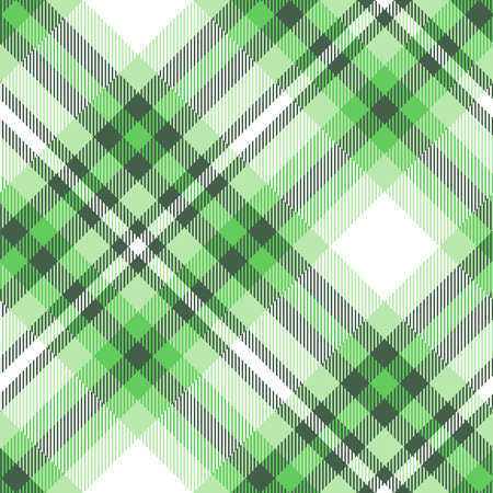 Seamless plaid pattern in green and white.