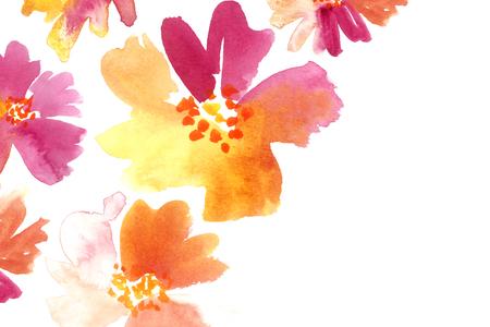 Fondo floral en violeta rosado y naranja. Plantilla de tarjeta de papelería acuarela.