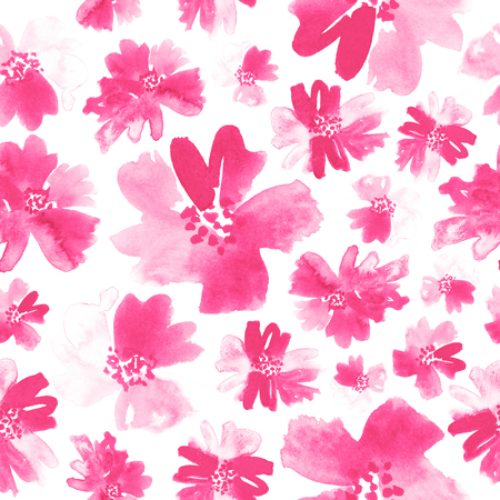 Seamless floral watercolor pattern in shades of pink. Stock Photo