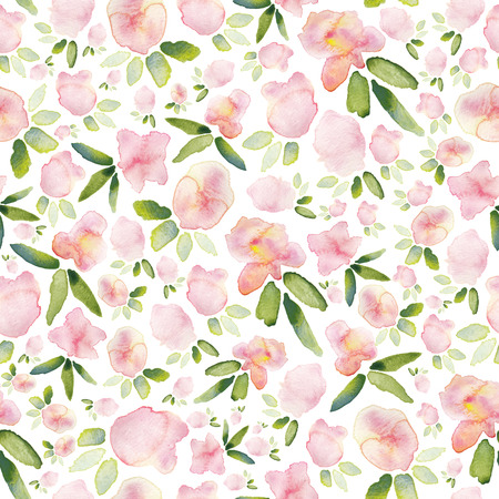 Seamless watercolor floral print in pastel pink and green.