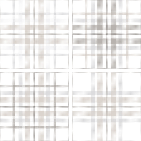 Set of four plaid pattern variations in shades of pastel grey, dusty beige and white.