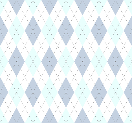 Argyle check pattern in faded blue and white. Seamless fabric texture.