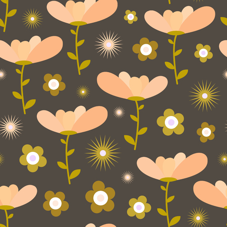 Seamless floral pattern in peach, mustard and taupe. Standard-Bild - 121998621