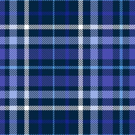 Patrón de cuadros en tonos azul, índigo, violeta y blanco. Textura de tela sin costuras. Ilustración de vector