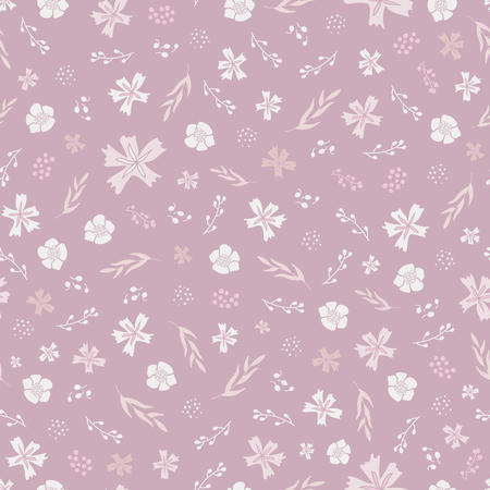 Seamless floral pattern in faded purple and pink.
