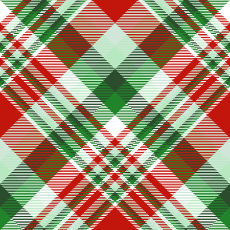 Plaid check pattern in Christmas color palete. Seamless fabric texture.