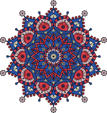 Floral mandala pattern in dark blue and red.